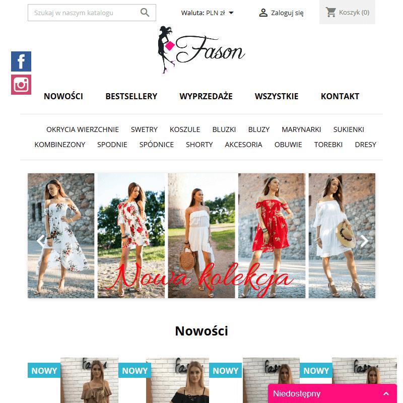 Butik internetowy z odzieżą damską